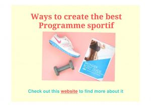 Ways to create the best Programme sportif