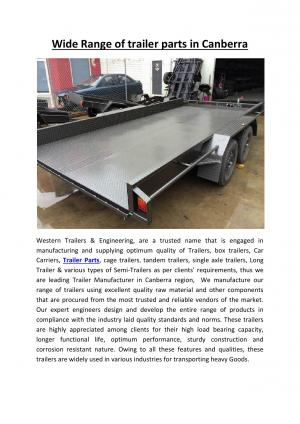 Wide Range of trailer parts in Canberra