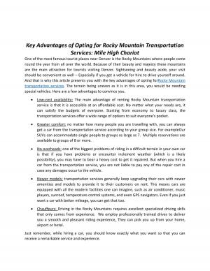 Key Advantages of Opting for Rocky Mountain Transportation Services: Mile High Chariot