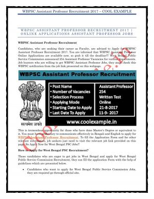 WBPSC Assistant Professor Recruitment