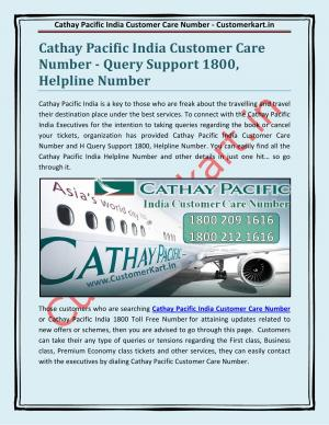 Cathay Pacific India Customer Care Number
