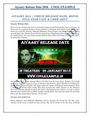 Aiyaary Release Date