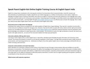 Speak fluent English-Get online English training course at English expert India