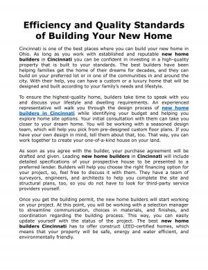 Efficiency and Quality Standards of Building Your New Home