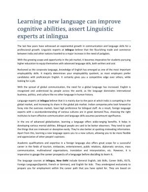 Learning a New Language Can Improve Cognitive Abilities, Assert Linguistic Experts at inlingua