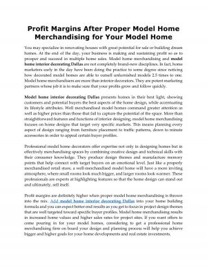 Profit Margins After Proper Model Home Merchandising for Your Model Home