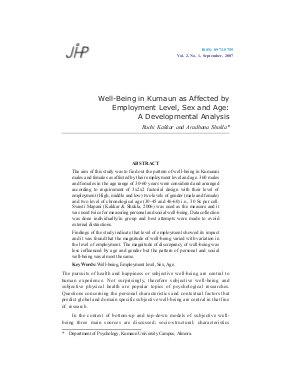 Well-Being in Kumaun as Affected by Employment Level, Sex and Age: A Developmental Analysis by Ruchi Kakkar and Aradhana Shukla - Read on ipad, iphone, smart phone and tablets.