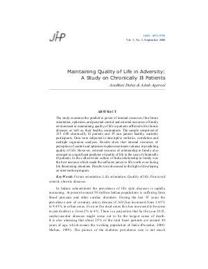 Maintaining Quality of Life in Adversity: A Study on Chronically Ill Patients by Anubhuti Dubey & Adesh Agarwal - Read on ipad, iphone, smart phone and tablets.