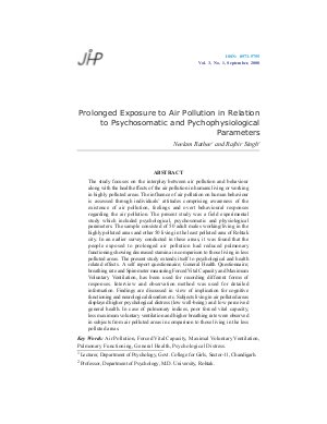 Prolonged Exposure to Air Pollution in Relation to Psychosomatic and Pychophysiological Parameters by Neelam Rathee and Rajbir Singh