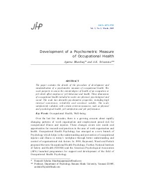 Development of a Psychometric Measure of Occupational Health by Aparna Bhardwaj and A.K. Srivastava