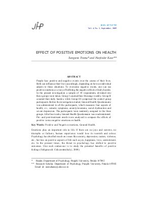 EFFECT OF POSITIVE EMOTIONS ON HEALTH by Sangeeta Trama and Harjinder Kaur