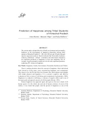 Prediction of Happiness among Tribal Students of Himachal Pradesh by  Anita Sharma, Mausami Thapa and Dalip Malhotra