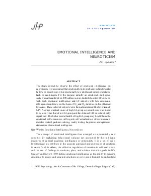 EMOTIONAL INTELLIGENCE AND NEUROTICISM by J.C. Ajawani