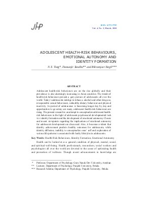 ADOLESCENT HEALTH-RISK BEHAVIOURS, EMOTIONAL AUTONOMY AND IDENTITY FORMATION by N.S. Tung, Damanjit Sandhu and Bikramjeet Singh