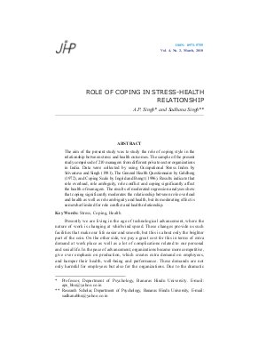 ROLE OF COPING IN STRESS-HEALTH RELATIONSHIP by A.P. Singh and Sadhana Singh