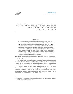 PSYCHO-SOCIAL PREDICTORS OF HAPPINESS DISPOSITION IN THE GENDERS by Anita Sharma and Dalip Malhotra