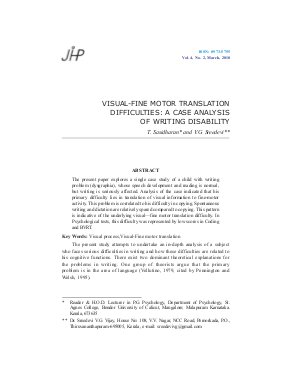 VISUAL-FINE MOTOR TRANSLATION DIFFICULTIES: A CASE ANALYSIS OF WRITING DISABILITY by T. Sasidharan and V.G. Sreedevi