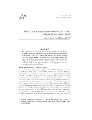 EFFECT OF RELIGIOSITY ON ANXIETY AND DEPRESSION IN NURSES by Sanjay Kumar and Bhawna Devi