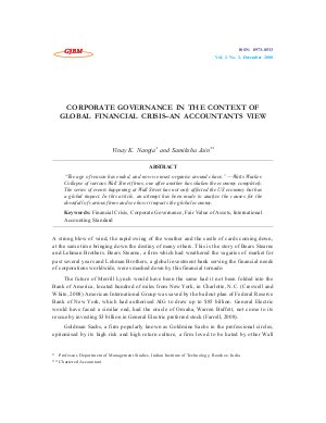 CORPORATE GOVERNANCE IN THE CONTEXT OF GLOBAL FINANCIAL CRISIS–AN ACCOUNTANTS VIEW by Vinay K. Nangia and Samiksha Jain