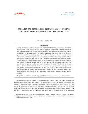 QUALITY OF COMMERCE EDUCATION IN INDIAN UNIVERSITIES: AN EMPIRICAL PRESENTATION by Dr. Nawab Ali Khan