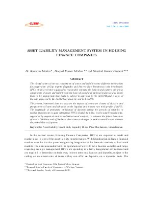 ASSET LIABILITY MANAGEMENT SYSTEM IN HOUSING FINANCE COMPANIES by Dr. Banarasi Mishra, Deepak Kumar Mishra and Shailesh Kumar Dwivedi
