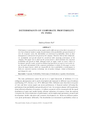 DETERMINANTS OF CORPORATE PROFITABILITY IN INDIA by Sandeep Kumar Rai