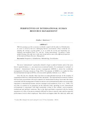 PERSPECTIVES OF INTERNATIONAL HUMAN RESOURCE MANAGEMENT by Madhuri Modekurti
