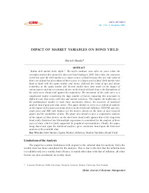 IMPACT OF MARKET VARIABLES ON BOND YIELD by Harish Handa - Read on ipad, iphone, smart phone and tablets.