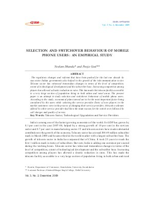 SELECTION AND SWITCHOVER BEHAVIOUR OF MOBILE PHONE USERS : AN EMPIRICAL STUDY by Neelam Dhanda and Pooja Goel