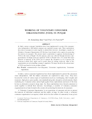 WORKING OF VOLUNTARY CONSUMER ORGANISATIONS (VCOS) IN PUNJAB by Dr. Kamaldeep Kaur and Prof. J.S. Pasricha - Read on ipad, iphone, smart phone and tablets.