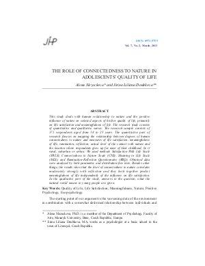 THE ROLE OF CONNECTEDNESS TO NATURE IN ADOLESCENTS' QUALITY OF LIFE by Alena Slezackova and Jirina Liliana Doubkova