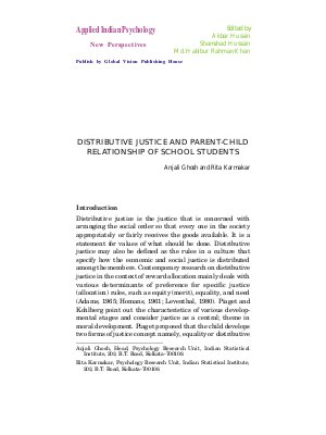 DISTRIBUTIVE JUSTICE AND PARENT-CHILD RELATIONSHIP OF SCHOOL STUDENTS by Anjali Ghosh and Rita Karmakar